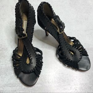 Cynthia Vincent Crossover Woven Strappy Heels 10